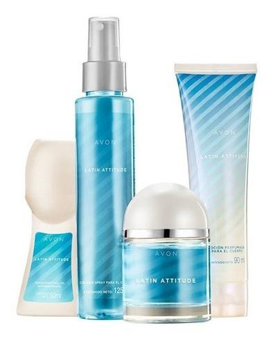 set x 4 avon latin attitude perfume,splash, desodorant