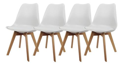 set x 4 sillas eames tulip de comedor almohadón patas madera