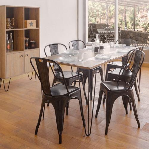 set x 4 sillas tolix metálica color negra roja blanca