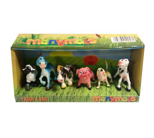 set x 6 animales de la granja manymals vaca oveja caballo