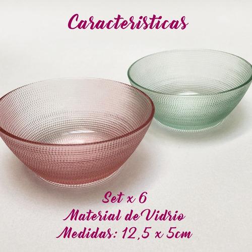set x 6 bowls compoteras de vidrio 12,5 cm en oferta pc