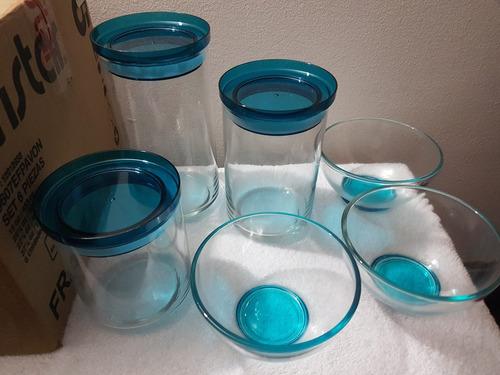 set x 6 piezas frascos alacena y ensaladeras