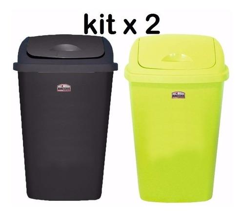set x 6 tacho de basura 25lts colombraro cesto p/ residuos