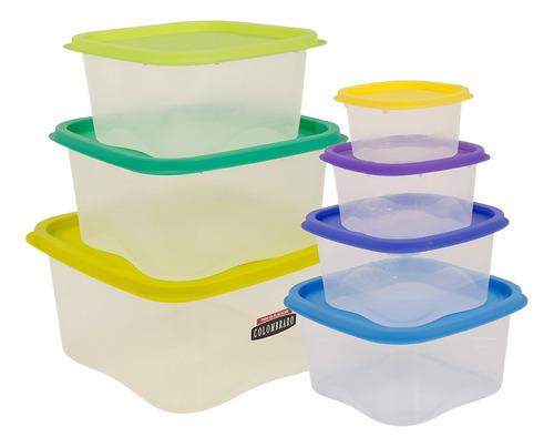 set x 7 herméticos multicolor plásticos cuadrado colombraro