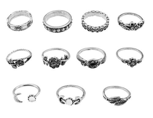 set x11 midirings moda juvenil mujeres anillos