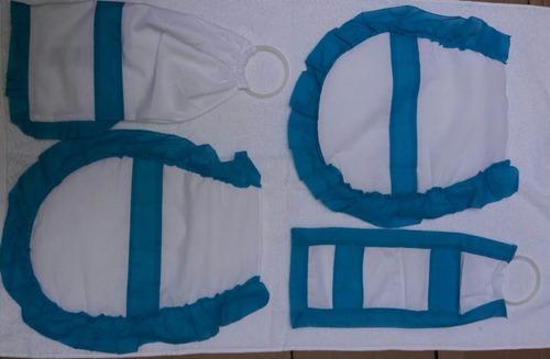 set x2 accesorios cubre bidet + inodoro + algodonera + rollo