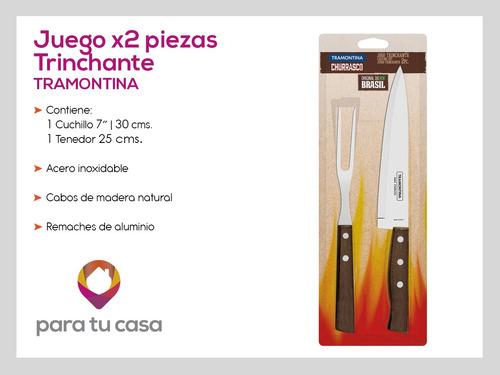 set x2 cuchillo tenedor trinchante tradicional tramontina