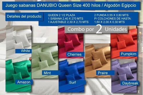 set x2 sabanas algodón egipcio danubio queen 400 hilos liso