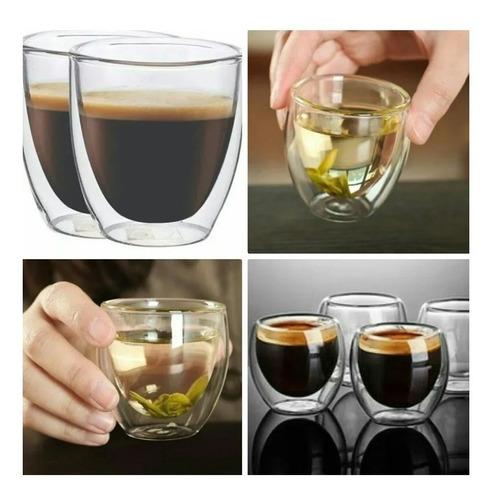 set x2 vaso doble vidrio bodum original 80ml pocillo palermo