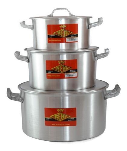 set x3 cacerola gastronómica nº22 - 26 - 32 aluminio real