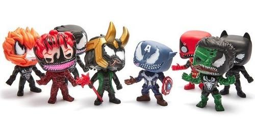set x3 simil funko pop muñecos marvel avengers venomized