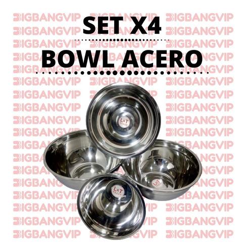 set x4 bowl cocina acero batidor reforzado reposteria