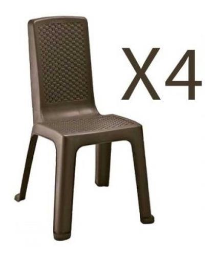 set x4 silla rimax eterna sin brazos wengue