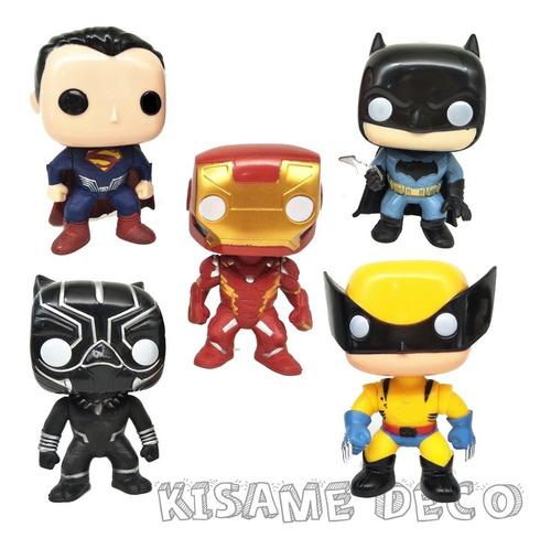 set x5 simil pop funko marvel dc  10cm avengers super promo