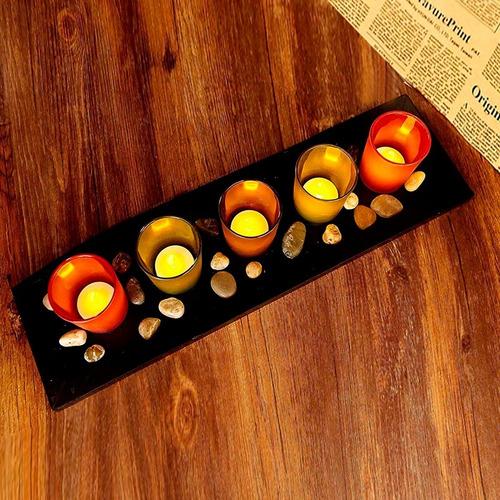 set x5 velas led candelabros + bandeja + piedras decoracion