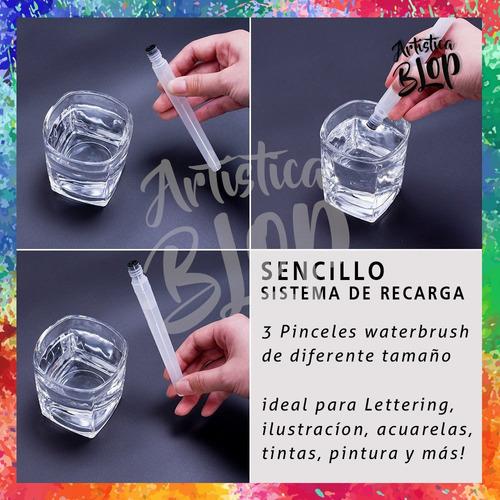 set x6 pinceles waterbrush grandes aplicador agua acuarela