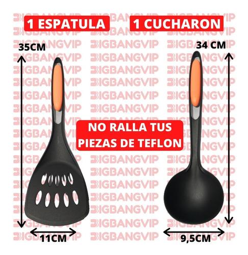 set x6 utensillos cocina teflon espatula cuchara espumadrea