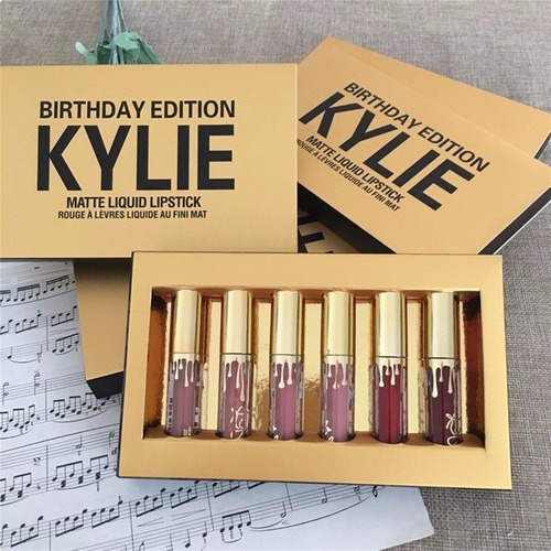 sets de 6 labiales kylie valentin birthday holiday oferta