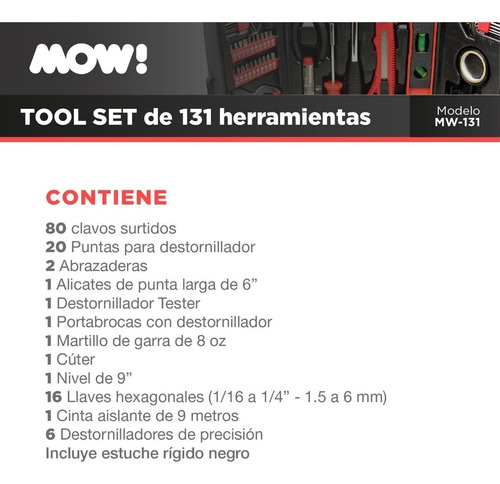 sets herramientas en maletin juego kit 131 piezas tecnofast