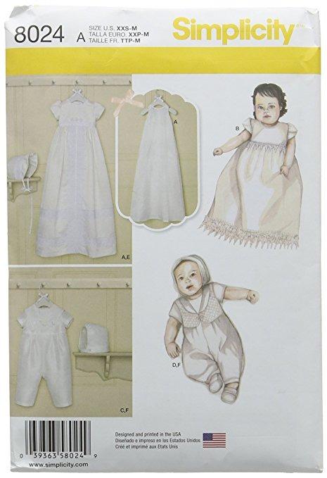 Sets Simplicidad Patrones De Los Bebés Del Bautizo Con Capos ...