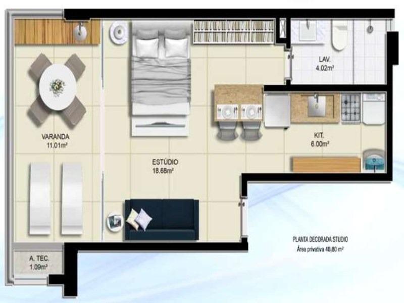 seven residence  1/4 na pituba. nascente total varandão    com 56  m2 - tjn310 - 3231168