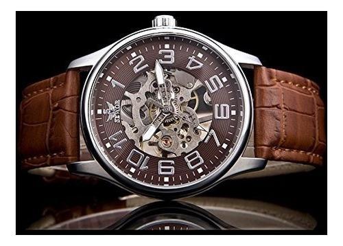 sewor hombres oro tono esqueleto transparente reloj mecánico