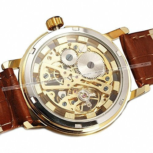 sewor hombres retro elegante mecanico reloj de pulsera de cu
