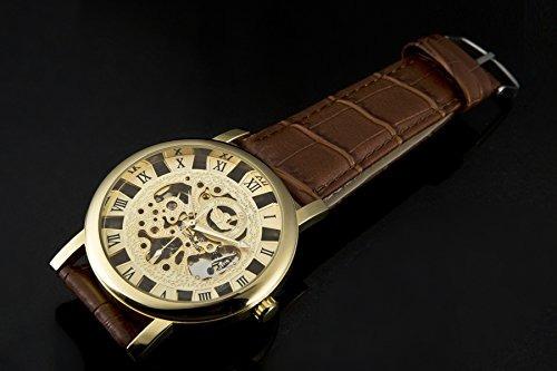 sewor mens mechanical roman numeral display leather wrist wa