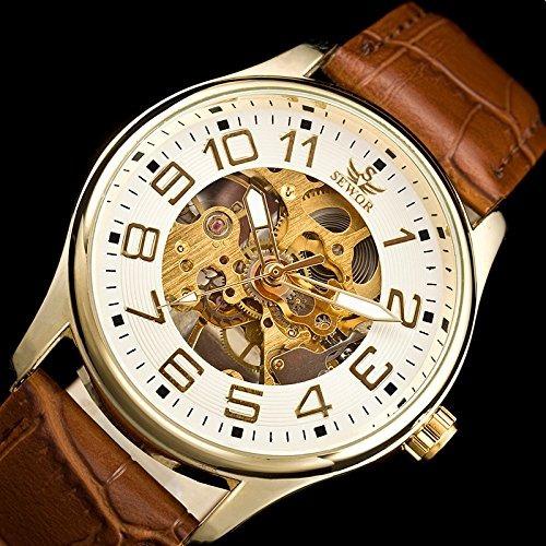 sewor mens skeleton transparent mechanical watch brown leath