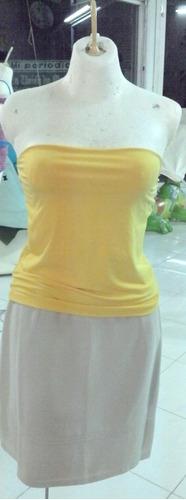 sexy blusa top strapless amarillo extra grande