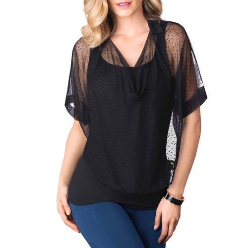 sexy blusa transparente mesh estampado 71264 vicky form