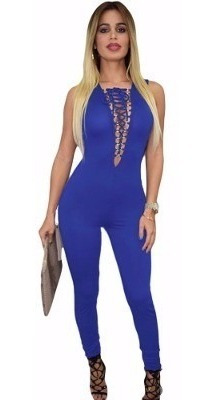 sexy body completo azul escote al frente con agujetas 60510