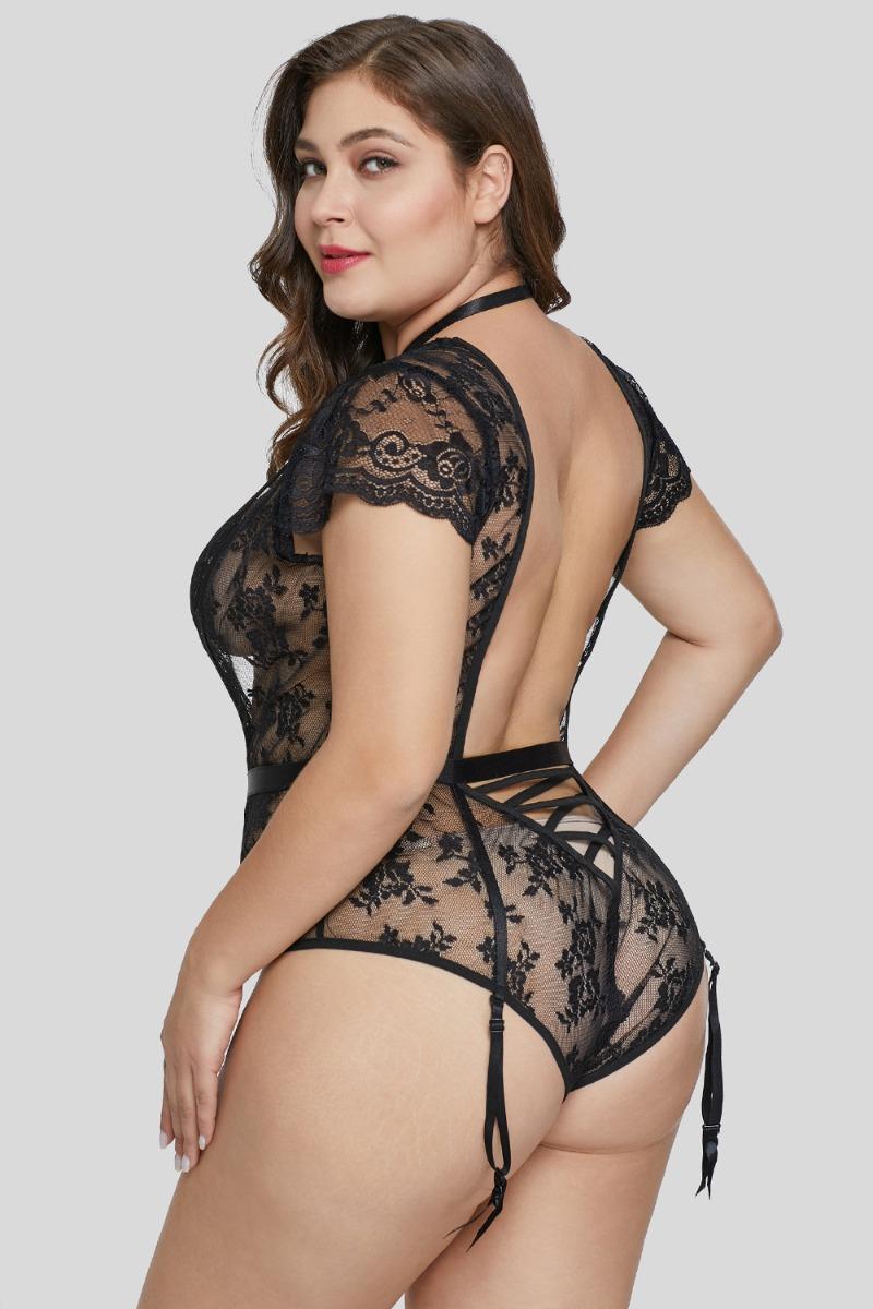 marca famosa auténtico auténtico mejores marcas Sexy Body De Encaje Negro Talla Extra Plus 2xl Con Liguero