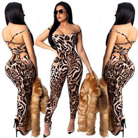 Sexy Body Jumpsuit Enterizo Leopardo Espalda Desnuda 6177