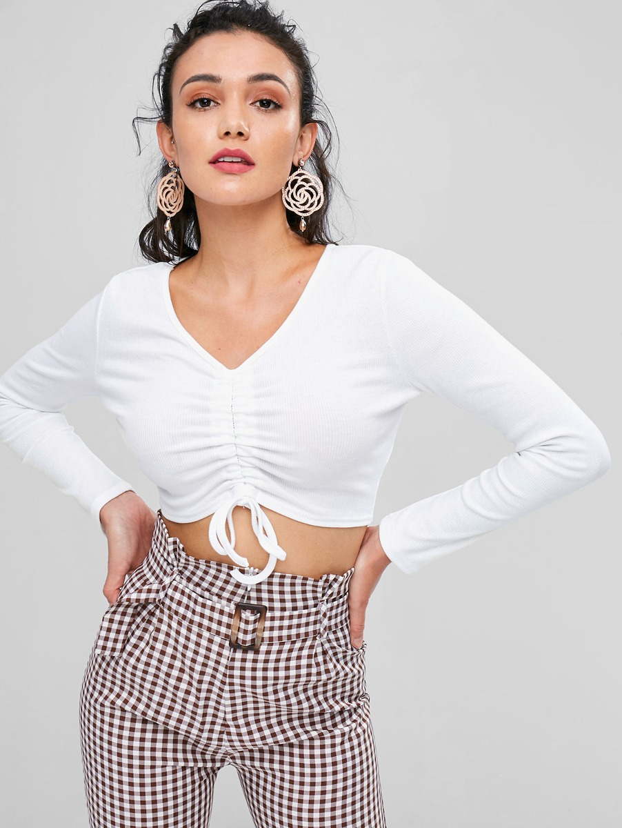 Sexy Cinchados Cuello Con Cuello En V Tee Para Mujer - $ 325.41 en ...