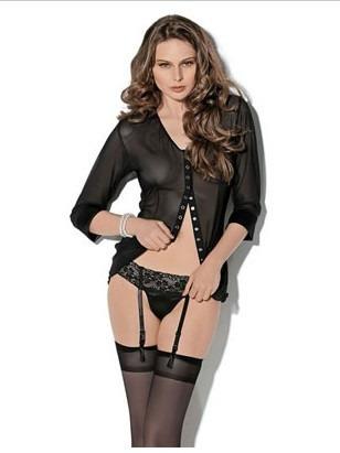 sexy coordinado panty-liguero blusa medias talla ch lenceria