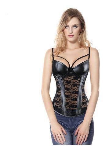 sexy corse de encaje negro imitacion de cuero