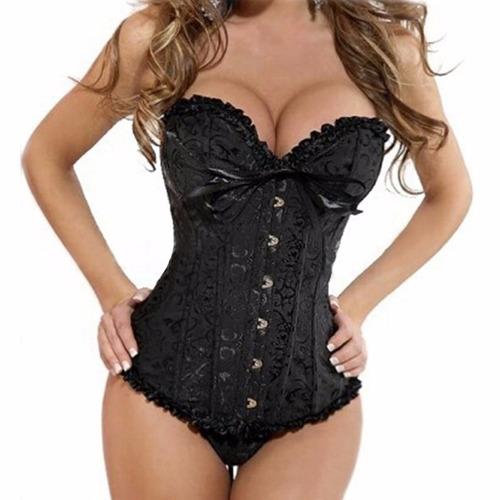 sexy corset negro lencería fina, tanga. coordinado co301