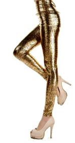 56418f03587f Sexy De Cuero Leggings Golden Snake Pant Tiro Medio