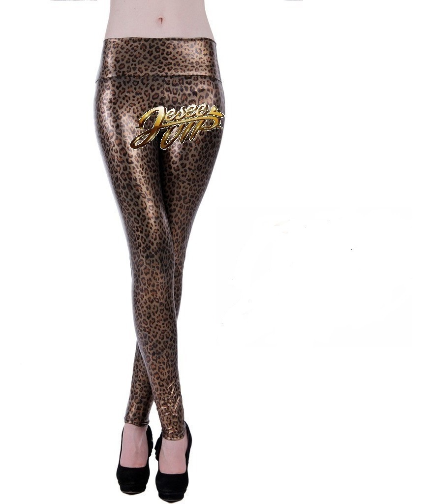 0d52646235fa Sexy De Cuero Leggings Leopardo Pant Tiro Medio