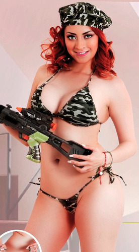 sexy disfraz de soldado para dama boina brassiere y tanga