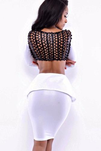 sexy falda blusa vinyl  blanco negro aberturas table dance