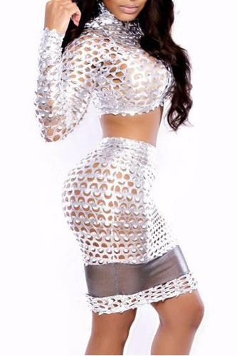 sexy falda blusa vinyl  plata brilloso aberturas table dance