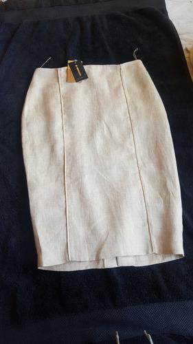 sexy falda tubo,color oro, talla 06 (39-40)