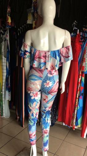 sexy jumpsuit palazzo floreado hombros olanes fiesta casual