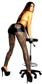 55c217547a7a Sexy Leggings Leopardo Con Patchwork Bolsillo Falso Cuero