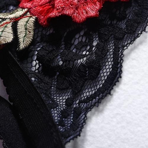 sexy lencería bralette sujetador top rosas bordado cage bra
