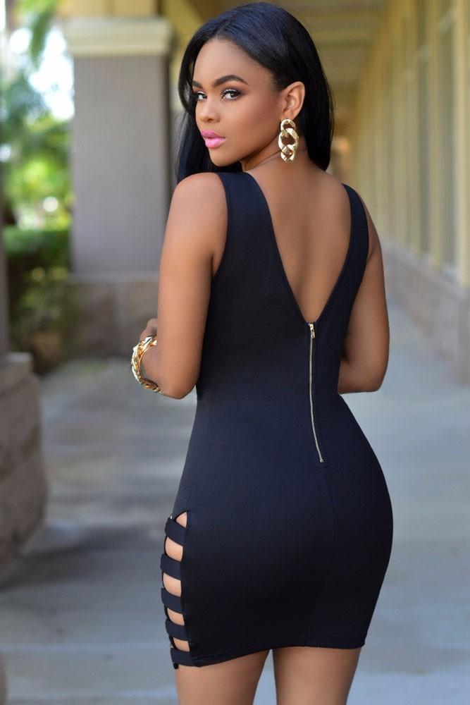 Sexy Mini Vestido Negro Con Tiras Moda Fiesta Y Cierre -7041