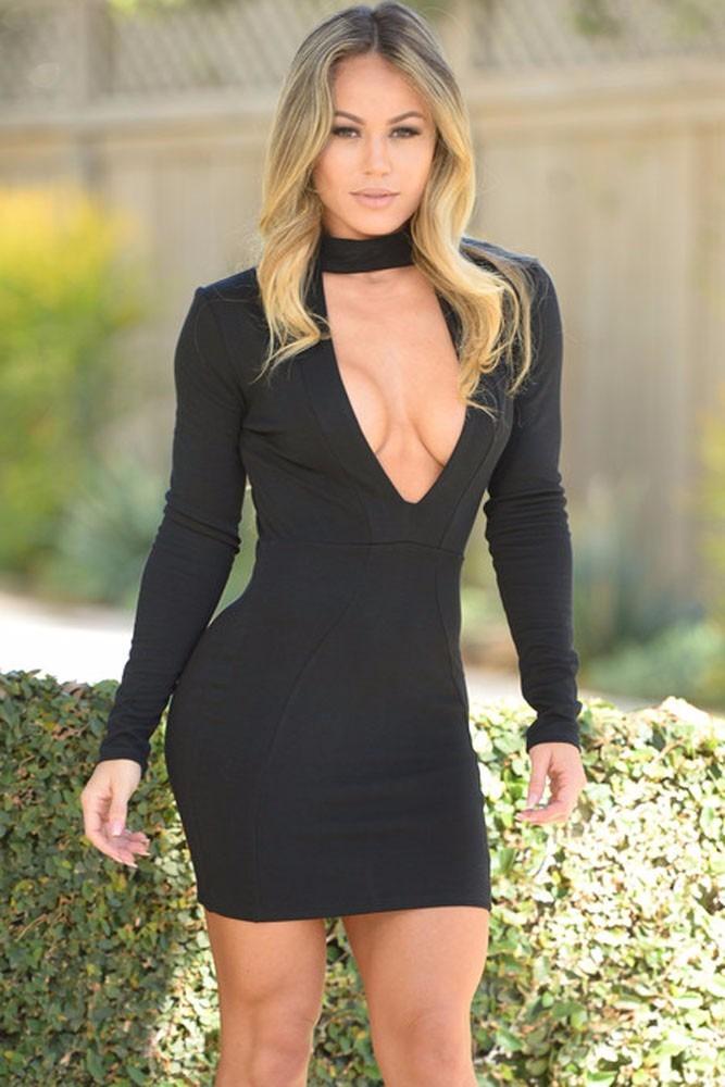 sexy mini vestido negro cuello escote y cierre en la espalda. Cargando zoom. a00514c7244d