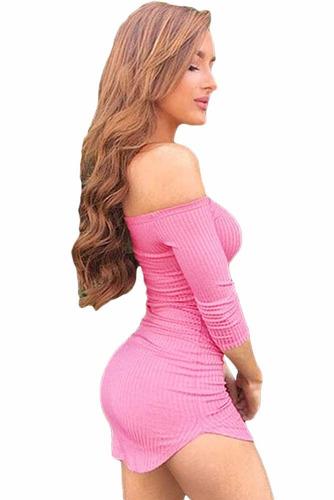 sexy mini vestido rosa con manga 3/4 a los hombros 22790
